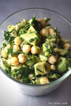 Lemony Kale Chickpea Avocado Salad is a 15-Minute, gluten-free, dairy-free, sugar-free, nutritious summer salad. Easy side dish recipe! thekitchengirl.com