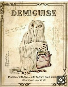 Demiguise Fantastic Beasts Book Page Digital Painting Print Theme Harry Potter, Harry Potter Printables, Harry Potter World, Fantastic Beasts Book, Fantastic Beasts And Where, Magical Creatures, Fantasy Creatures, Harry Potter Accesorios, Mythological Creatures
