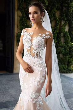 """Wedding Gown Wedding Dress by Milla Nova White Desire 2017 Bridal Collection - Betti - Dramatic elegance is oozing out of every single wedding dress in Milla Nova """"White Desire"""" 2017 Bridal Collection. Every bridal gown brings gorgeous style. Bridal Wedding Dresses, Bridal Lace, Dream Wedding Dresses, Lace Wedding, Wedding Dress Styles, Mermaid Wedding, Summer Wedding, Lace Mermaid, Prom Dresses"""