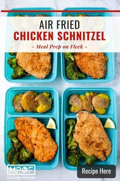 Air Fried Chicken Schnitzel - Meal Prep on Fleek™ Paleo Meal Prep, Lunch Meal Prep, Dinner Meal, Whole 30 Snacks, Whole 30 Recipes, Lunch Recipes, Paleo Recipes, Dinner Recipes, Chicken Schnitzel