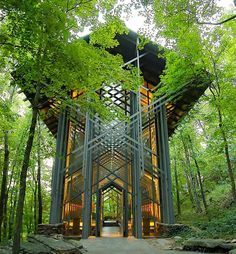 This is Thorncrown Chapel in Eureka Springs, Arkansas. The chapel was designed by Fay Jones and constructed in 1980 and is made mostly of wood and materials indigenous to northwest Arkansas