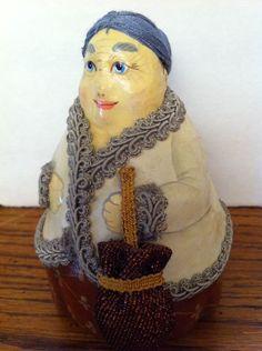 "Hand Made Russian Grandmother Woman Paper Mache 5"""