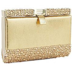 ZOE ADAMS Rhinestone Mini Clutch (135 BRL) ❤ liked on Polyvore featuring bags, handbags, clutches, purses, bolsas, gold, beige handbags, sparkly purses, mini pochette and beige purse