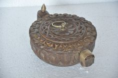 Old Wooden Unique Floral Engraved 9 Compartment Handcrafted Tikka Powder Box #Unknown