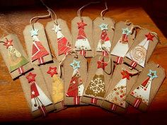 Christmas trees gift tags - good way to reuse old Christmas cards