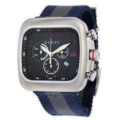 Gucci Coupe Chronograph Blue Dial Blue and Grey Nylon Men's Watch YA131203 - G-Coupe - Gucci - Shop Watches by Brand - Jomashop