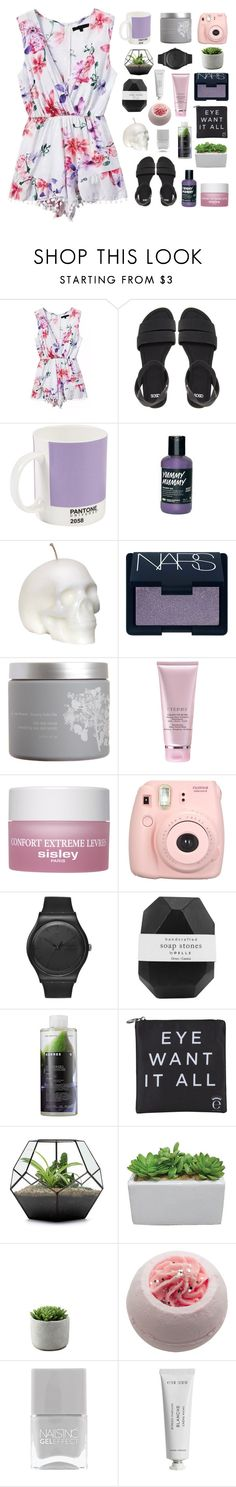 """can't read my poker face"" by burning-citylights ❤ liked on Polyvore featuring ASOS, W2 Products, NARS Cosmetics, red flower, Sisley Paris, Swatch, Pelle, Korres, Eyeko and Cotton Candy"