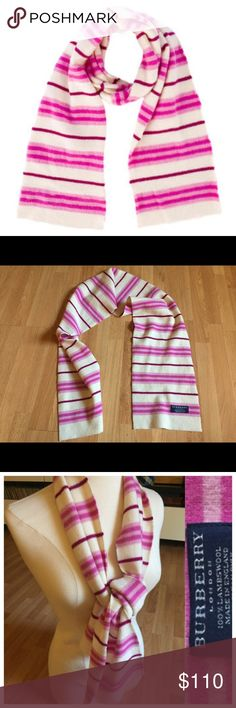 """Burberry Pink Stripe Wool Scarf $300 rare! Burberry Pink Striped Wool Scarf $300 retail. Hard to find! Perfect condition!   Pink and cream wool Burberry scarf with magenta and pink striped printed throughout and rolled edges. Color: Pattern Prints Condition: Excellent!  Fabric: 100% Lamb Wool Measurements: Length 61"""", Width 7.5"""" Designer: Burberry Burberry Accessories Scarves & Wraps"""