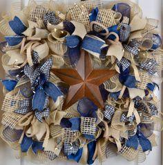 Denim Jute Burlap Mesh SQUARE Ruffle Wreath by ChewsieCreations