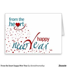 From the heart happy New Year Stationery Note Card
