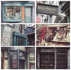 """hp aesthetics // diagon alley 2/2: """"...windows stacked with barrels of bat spleens and eels' eyes, tottering piles of spell books, quills, and rolls of parchment, potion bottles, globes of the moon […]"""""""