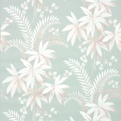 Botanical Vintage Wallpaper White Botanical Leaves on Light Green Antique Wallpaper, Wall Wallpaper, E Design, Graphic Design, Abstract Backgrounds, Illustration Art, Birds, Retro, Antiques