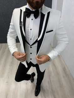 Collection: Spring – Summer 2019 Product: Slim Fit Tuxedo Color Code: White Size: Suit Material: viscose, polyester Machine Washable: No Fitting: Slim-fit Package Include: Jacket, Vest, Pants Only Gifts: Shirt, and Bow Tie Dry Clean Only Slim Fit Tuxedo, Tuxedo Suit, Tuxedo For Men, Slim Fit Blazer, Mens Fashion Suits, Mens Suits, Shawl Collar Tuxedo, Tuxedo Colors, Blazer Outfits Men