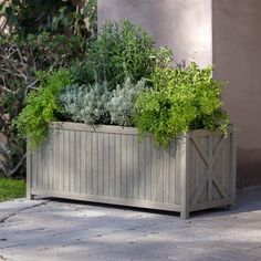 Belham Living Cottonwood Wood Rectangle Planter - x x - Planters at Hayneedle Raised Garden Planters, Wooden Planters, Outdoor Planters, Planter Boxes, Hanging Planters, Planter Ideas, Trough Planters, Large Planters, Diy Planters