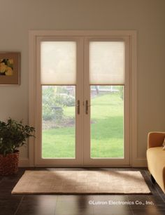 Serena remote controlled shades are perfect for doors with their wire-free design.  www.automation-design.com