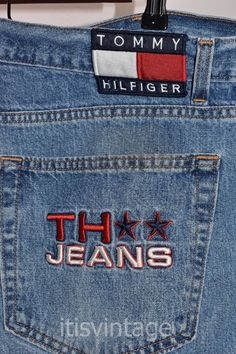f83abdde Vintage Tommy Hilfiger Jeans Denim Shorts Flag Patch Spell Out Sz 40  (actual)