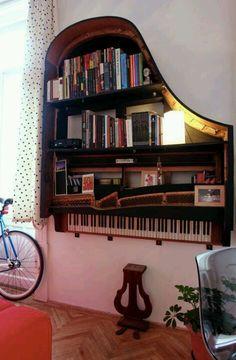 Repurposed Piano bookcase