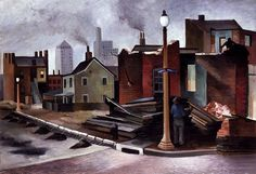 Street Scene, 1934  Joe Jones, Born: St. Louis, Missouri 1909 Died: Morristown, New Jersey 1963  oil on canvas 32 1/4 x 48 1/8 in. (81.8 x 122.2 cm.)  Smithsonian American Art Museum  Transfer from the U.S. Department of Labor 1964.1.94    These workers ar Find the best #Art shows in     Manhattan with https://www.artexperiencenyc.com