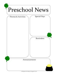 Monster Theme Preschool Newsletter Template | Teaching Ideas ...