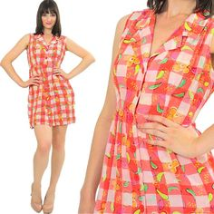 Boho mini dress Gingham Plaid Vintage 90s Grunge Checkered Hippie Mod Mini Abstract Party sundress Medium