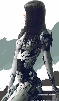 Beautiful robot-girl with black hair