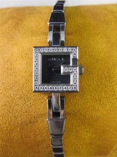9833cef1af4 GUCCI 102 Black Dial Diamond G Bezel Stainless Steel Ladies Watch