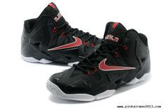 Authentic Nike LeBron 11 Black White Red Mens Basketball Shoes