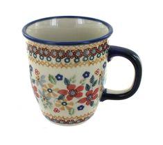 Red Daisy Coffee Mug - Blue Rose Polish Pottery