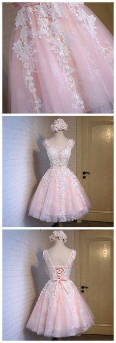 Pink Homecoming Dress,Cute Homecoming Dress,Scoop Lace Up Homecoming Junior Homecoming Dresses, Best Prom Dresses, Junior Dresses, Dresses For Teens, Dress Prom, Formal Dresses, Short Prom, Dream Dress, Dress Making