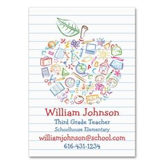 Teachers apple business card chalkboard apple by papersunstudio colorful teachers apple business card make your own business card with this great design reheart Gallery