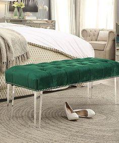 Green Marinell Tufted Velvet Ottoman Bench #zulily…