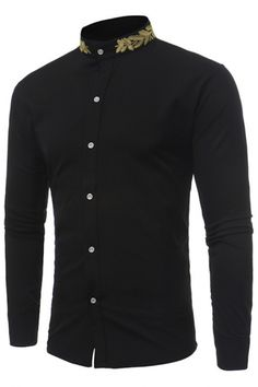 Stand Collar Men Shirt 2017 Brand New Gold Embroidery Men Shirt Long Sleeve Slim Fit Cotton Male Shirts Casual Mens Dress Shirts - Apparel & Accessories/Men's Clothing Casual Shirts For Men, Men Casual, Costume Steampunk, Cotton Shirt Dress, Dress Shirts, Outfit Man, Camisa Slim, Shirt Embroidery, Gold Embroidery