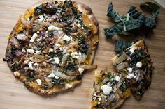 roasted butternut squash and kale naan pizza