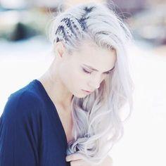 side braid + curly hair
