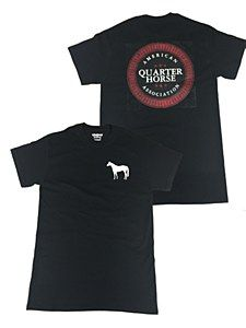 American Quarter Horse Association clothing. Black Short Sleeve Tee with a Standing Horse on the front left chest and black / red AQHA Shield logo on the back.