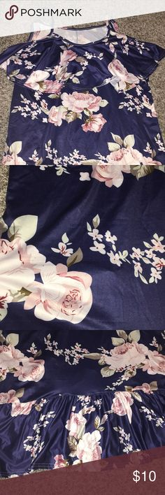 Women's large floral cold shoulder dress Women's large-xl floral off cold shoulder dress New never worn. Frilly material around neckline and bottom of dress.  Beautiful colors.  Silky feel Dresses