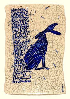 Hare illustration Love this! Jack Rabbit, Rabbit Art, Rabbit Crafts, Hare Illustration, Year Of The Rabbit, Willow Pattern, Bunny Art, Art Sculpture, Tile Art