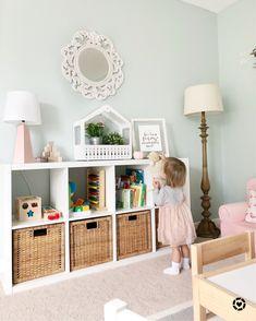 IKEA kallax with wicker bins, sw copen blue paint, pops of pinks and feminine pl. IKEA kallax with wicker bins, sw copen blue paint, pops of pinks and feminine playroom Ikea Bedroom, Bedroom Decor, Playroom Organization, Big Girl Rooms, Girl Toddler Bedroom, Ikea Toddler Room, Toy Rooms, Kids Room Design, Baby Room