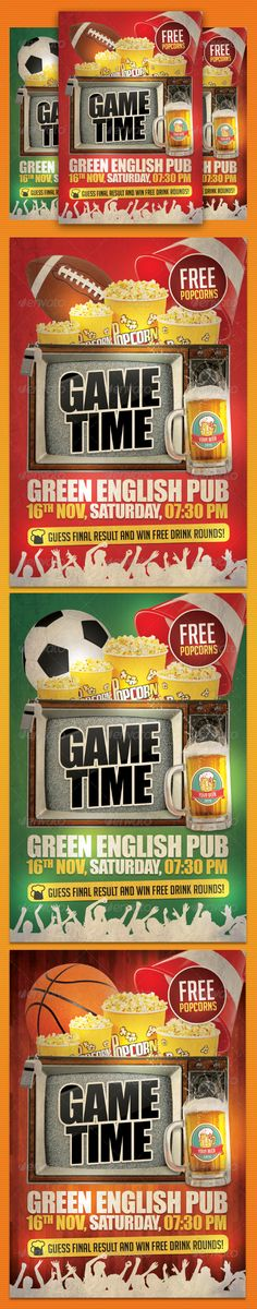 Game Day Party Flyer Template  #GraphicRiver         Game Time Party Flyer Template is ideal choice if you oragnize game watching in your pub, club, caffe, etc. Let your guests have fun and great time while watching your favorite sport team playing football, soccer, basketball or any other sport!  FEATURES:    4×6 inch format + bleeds with guides   CMYK   300 DPI   Layered PSD, well organized  3 versions included – 3 different backgrounds and sports  Font 1: Big Noodle Titling (  .dafont…