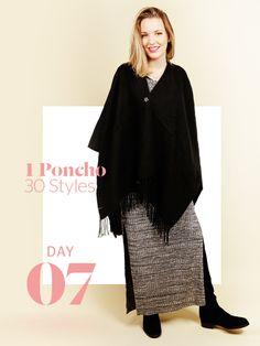 Unsere Stylight Challenge: 30 Tage Poncho tragen - aber immer anders kombiniert. Poncho übers Kleid und dazu eine Brosche: das ist Vronis OOTD. Warum die Brosche nicht nur Zierde ist, lest ihr im Text!