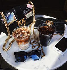Ludlow coffee supply NYC - coffee & handbags flay lay