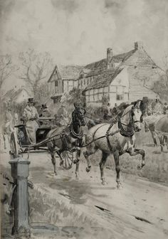 A Meet of the Foxhounds Yesterday by Lionel D.R. Edwards (1878-1966)