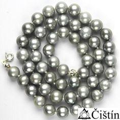 Přírodní říční perly šedé, stříbrná perla přírodní, náhrdelník z perel, perlový náhrdelník  - šperky swarovski šperky stříbrné zlaté cz náušnice přívěšky prsteny řetízky