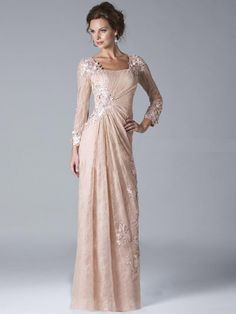 A-Line/Princess Square Long Sleeves Applique Floor-length Tulle Dress