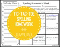 We made a little design update to our free Tic-Tac-Toe Spelling Homework. 54 different ways to practice spelling!
