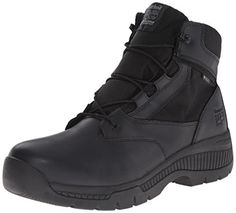 Timberland PRO Men's 6 Inch Valor Soft Toe WP Side Zip Work Boot, Black  Smooth