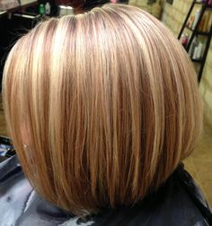 Blonde highlights. Inverted bob haircut.
