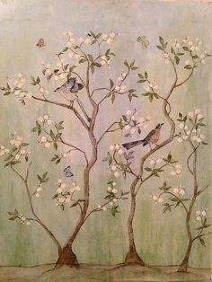 "Jenn Marie sold a 27.00"" x 36.00"" print of Sweet Chinoiserie 2 to a buyer from Fairfax, VA #chinoiserie, #flowers #spring #butterflies #birds #beauty"