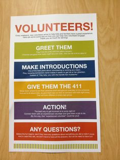 New Volunteers - What to do on their first day.