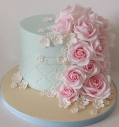 One of my top favorites~ Roses on a beautifully fitted fondant cake